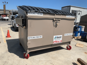"Front load lockable ""holding"" recycling container for commingled recycling"