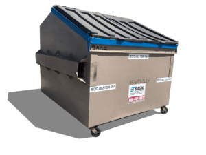 Front load lockable recycling container for commingled recycling